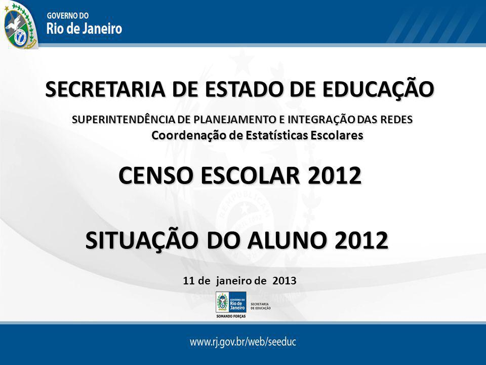 SECRETARIA DE ESTADO DE EDUCAÇÃO SUPERINTENDÊNCIA DE PLANEJAMENTO E INTEGRAÇÃO DAS REDES Coordenação de Estatísticas Escolares CENSO ESCOLAR 2012 CENSO ESCOLAR 2012 SITUAÇÃO DO ALUNO 2012 11 de janeiro de 2013