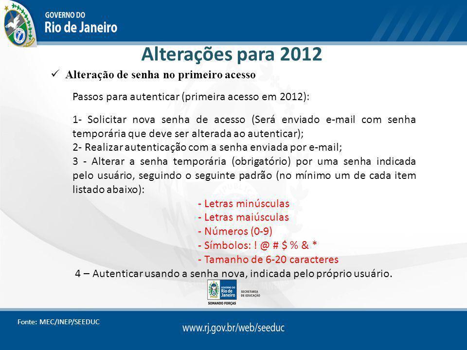 Alterações para 2012 Alteração de senha no primeiro acesso Passos para autenticar (primeira acesso em 2012): 1- Solicitar nova senha de acesso (Será e