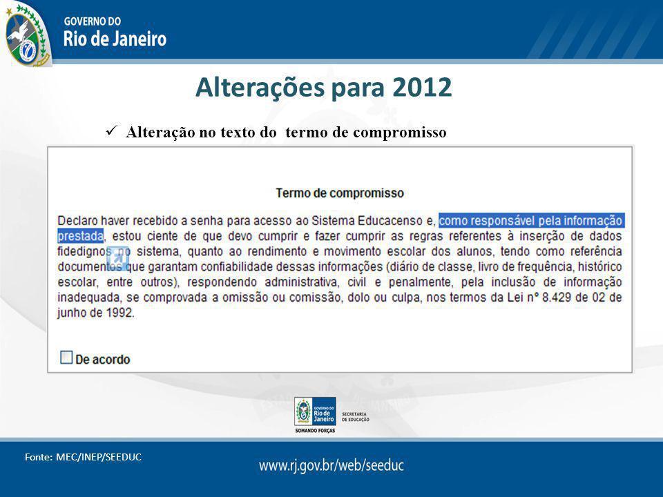 Alterações para 2012 Alteração no texto do termo de compromisso Fonte: MEC/INEP/SEEDUC
