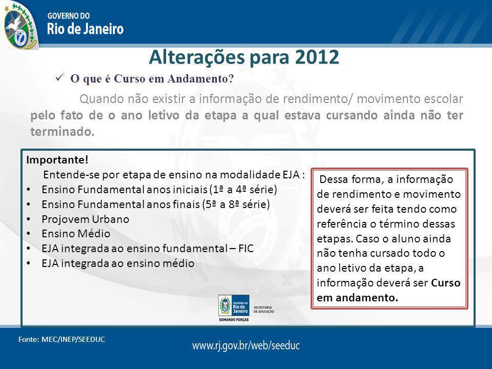 Alterações para 2012 Quando não existir a informação de rendimento/ movimento escolar pelo fato de o ano letivo da etapa a qual estava cursando ainda