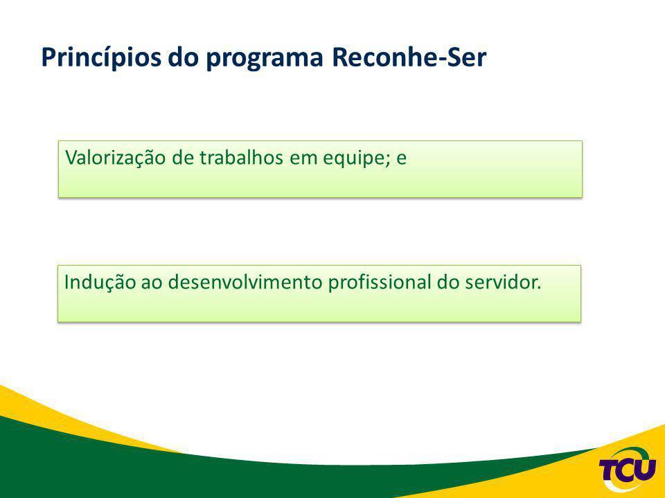 Programa Reconhe-Ser Portaria-TCU 233/2009 Consistirá no acúmulo de pontos de avaliação de desempenho e, visando a obtenção de incentivos institucionais.