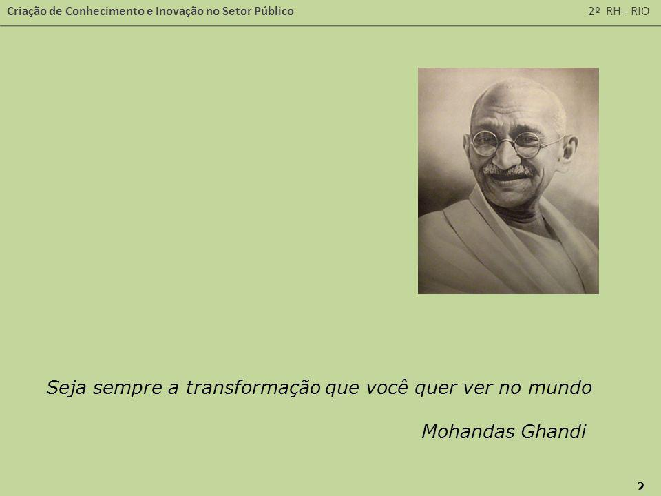 Criação de Conhecimento e Inovação no Setor Público 2º RH - RIO 2 Seja sempre a transformação que você quer ver no mundo Mohandas Ghandi