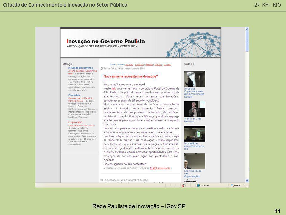 Criação de Conhecimento e Inovação no Setor Público 2º RH - RIO 44 Rede Paulista de Inovação – iGov SP