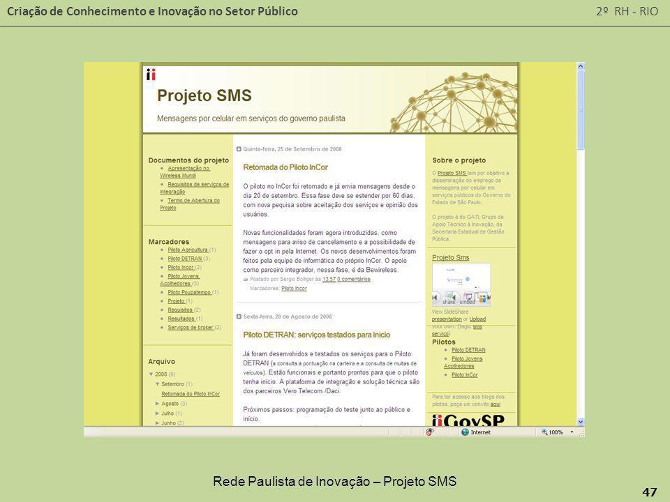 Criação de Conhecimento e Inovação no Setor Público 2º RH - RIO 47 Rede Paulista de Inovação – Projeto SMS