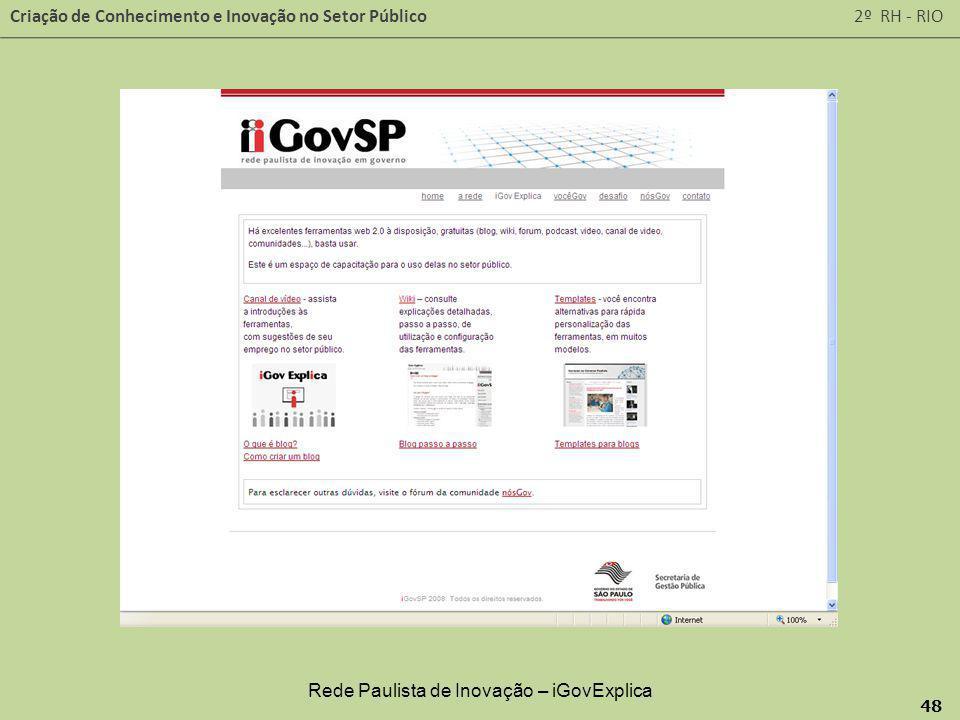 Criação de Conhecimento e Inovação no Setor Público 2º RH - RIO 48 Rede Paulista de Inovação – iGovExplica