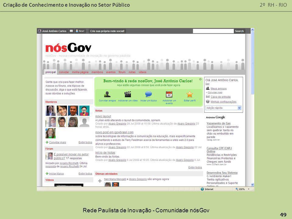 Criação de Conhecimento e Inovação no Setor Público 2º RH - RIO 49 Rede Paulista de Inovação - Comunidade nósGov