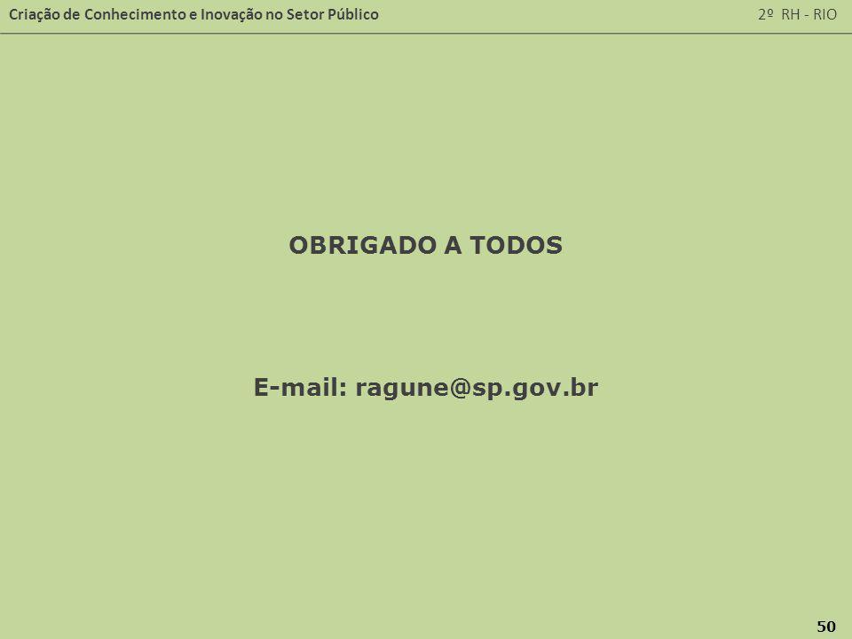Criação de Conhecimento e Inovação no Setor Público 2º RH - RIO 50 OBRIGADO A TODOS E-mail: ragune@sp.gov.br