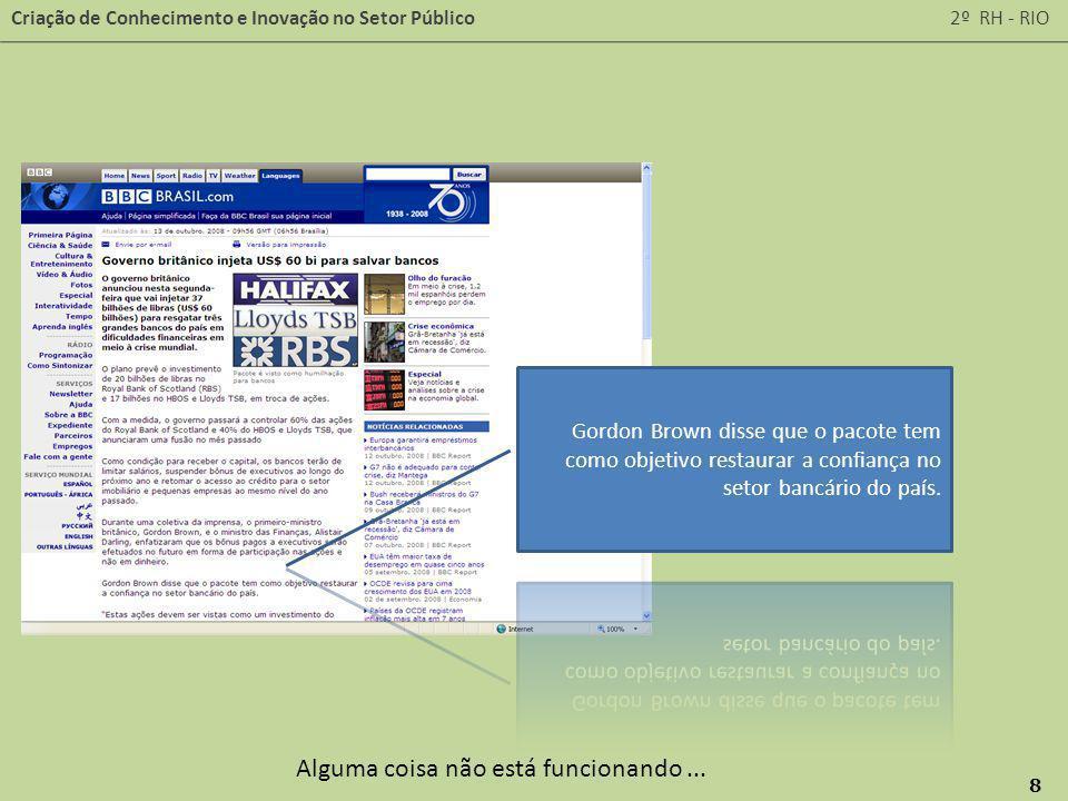 Criação de Conhecimento e Inovação no Setor Público 2º RH - RIO 8 Alguma coisa não está funcionando...