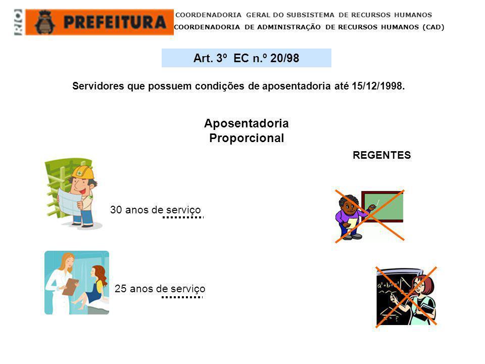 COORDENADORIA GERAL DO SUBSISTEMA DE RECURSOS HUMANOS COORDENADORIA DE ADMINISTRAÇÃO DE RECURSOS HUMANOS (CAD) 30 anos de serviço 25 anos de serviço R