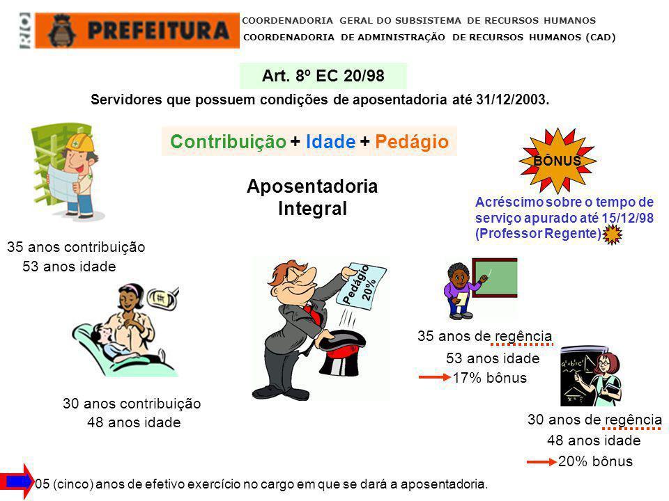 COORDENADORIA GERAL DO SUBSISTEMA DE RECURSOS HUMANOS COORDENADORIA DE ADMINISTRAÇÃO DE RECURSOS HUMANOS (CAD) 31/12/2003 Em data anterior à Emenda Constitucional nº 41 de 31/12/2003, os servidores que cumprissem as exigências para Aposentadoria Integral, nas condições estabelecidas pela EC 20/98 e permanecessem em atividade, fariam jus à ISENÇÃO PREVIDENCIÁRIA até completar as exigências contidas no art.