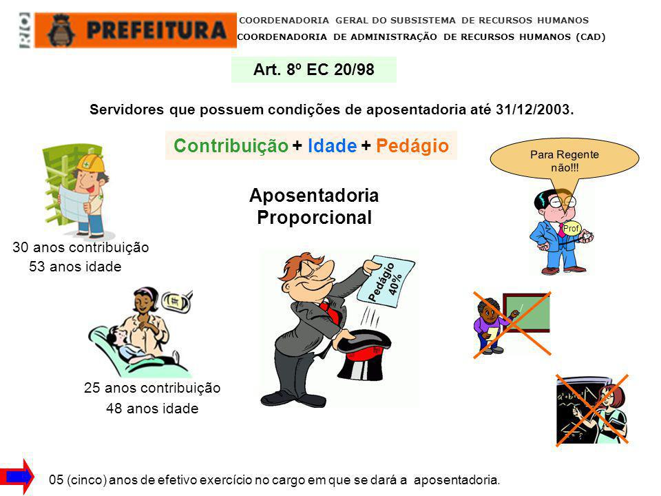 COORDENADORIA GERAL DO SUBSISTEMA DE RECURSOS HUMANOS COORDENADORIA DE ADMINISTRAÇÃO DE RECURSOS HUMANOS (CAD) 05 (cinco) anos no cargo e 10 anos no serviço público Art.
