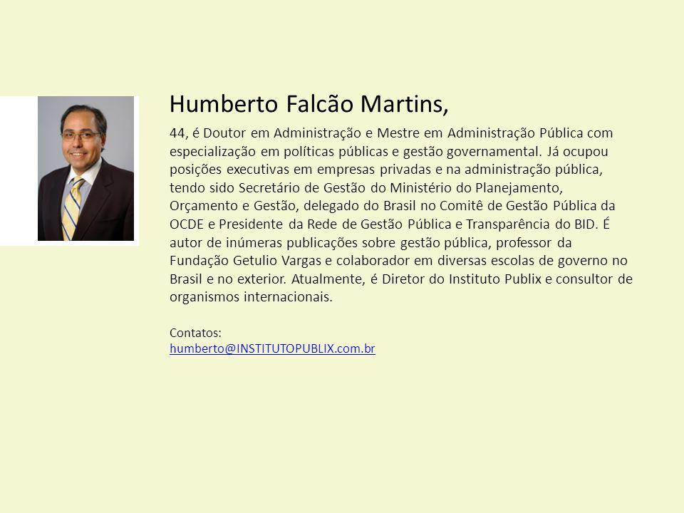 Humberto Falcão Martins, 44, é Doutor em Administração e Mestre em Administração Pública com especialização em políticas públicas e gestão governament