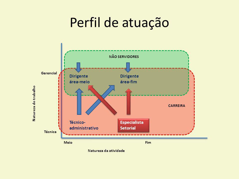 Perfil de atuação MeioFim Técnica Gerencial Natureza do trabalho Natureza da atividade Técnico- administrativo Especialista Setorial Especialista Seto