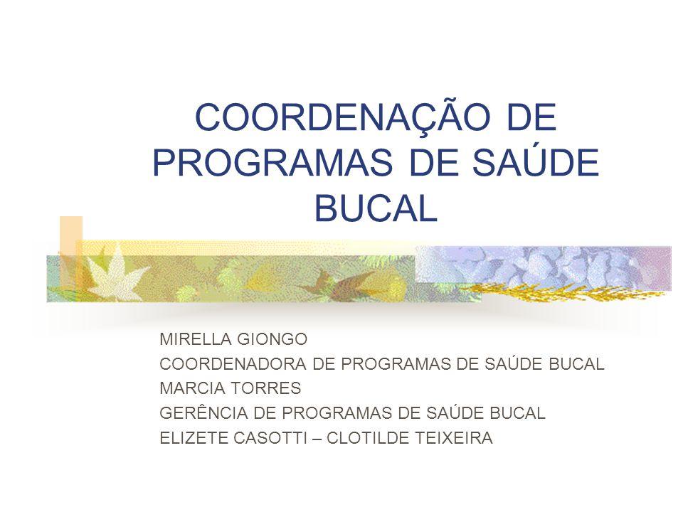 COORDENAÇÃO DE PROGRAMAS DE SAÚDE BUCAL MIRELLA GIONGO COORDENADORA DE PROGRAMAS DE SAÚDE BUCAL MARCIA TORRES GERÊNCIA DE PROGRAMAS DE SAÚDE BUCAL ELI