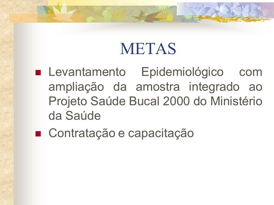 METAS Levantamento Epidemiológico com ampliação da amostra integrado ao Projeto Saúde Bucal 2000 do Ministério da Saúde Contratação e capacitação