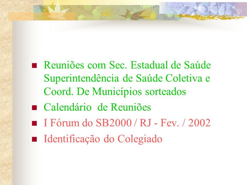 Reuniões com Sec. Estadual de Saúde Superintendência de Saúde Coletiva e Coord. De Municípios sorteados Calendário de Reuniões I Fórum do SB2000 / RJ