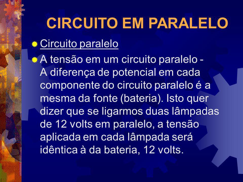 CIRCUITO EM PARALELO Circuito paralelo A tensão em um circuito paralelo - A diferença de potencial em cada componente do circuito paralelo é a mesma d