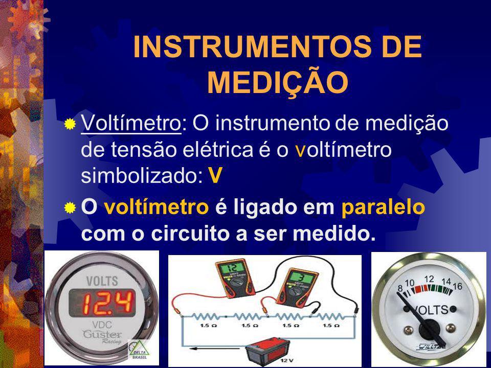 INSTRUMENTOS DE MEDIÇÃO Voltímetro: O instrumento de medição de tensão elétrica é o voltímetro simbolizado: V O voltímetro é ligado em paralelo com o