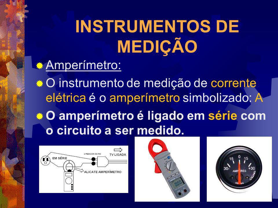INSTRUMENTOS DE MEDIÇÃO Amperímetro: O instrumento de medição de corrente elétrica é o amperímetro simbolizado: A O amperímetro é ligado em série com