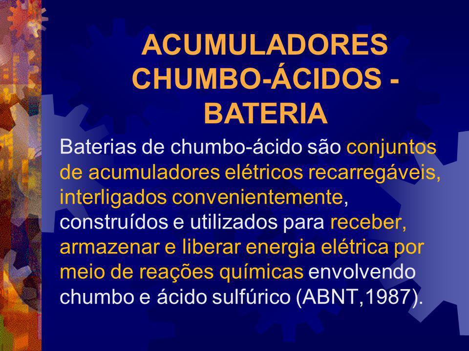 ACUMULADORES CHUMBO-ÁCIDOS - BATERIA Baterias de chumbo-ácido são conjuntos de acumuladores elétricos recarregáveis, interligados convenientemente, co