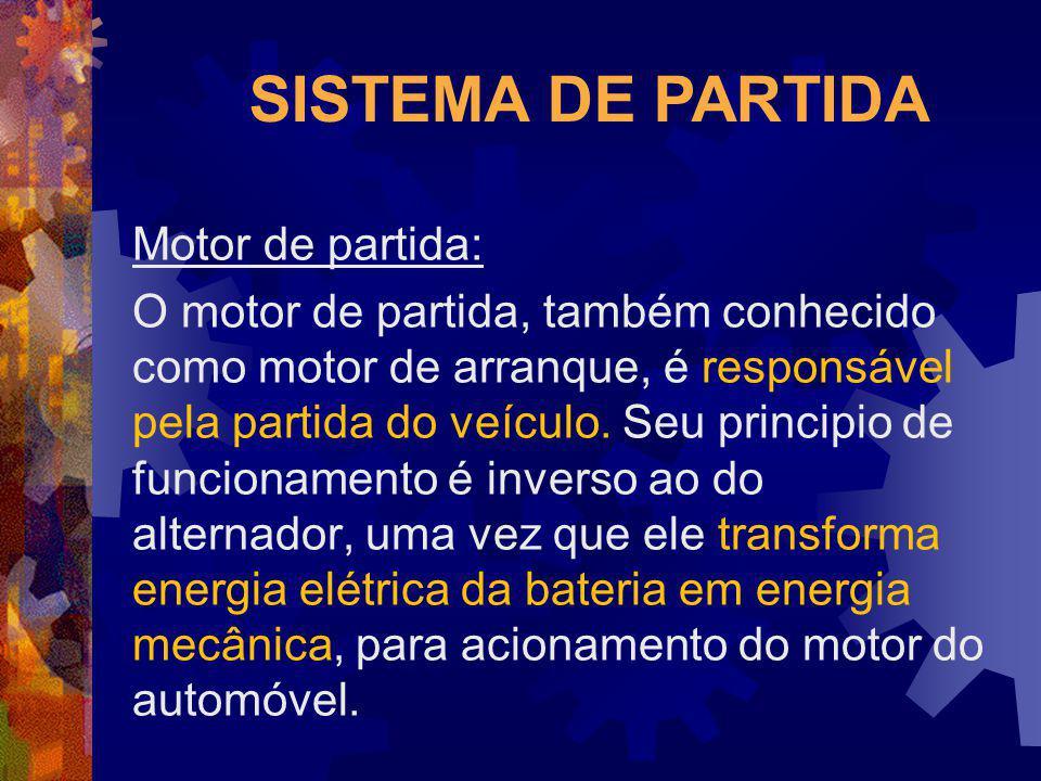 SISTEMA DE PARTIDA Motor de partida: O motor de partida, também conhecido como motor de arranque, é responsável pela partida do veículo. Seu principio