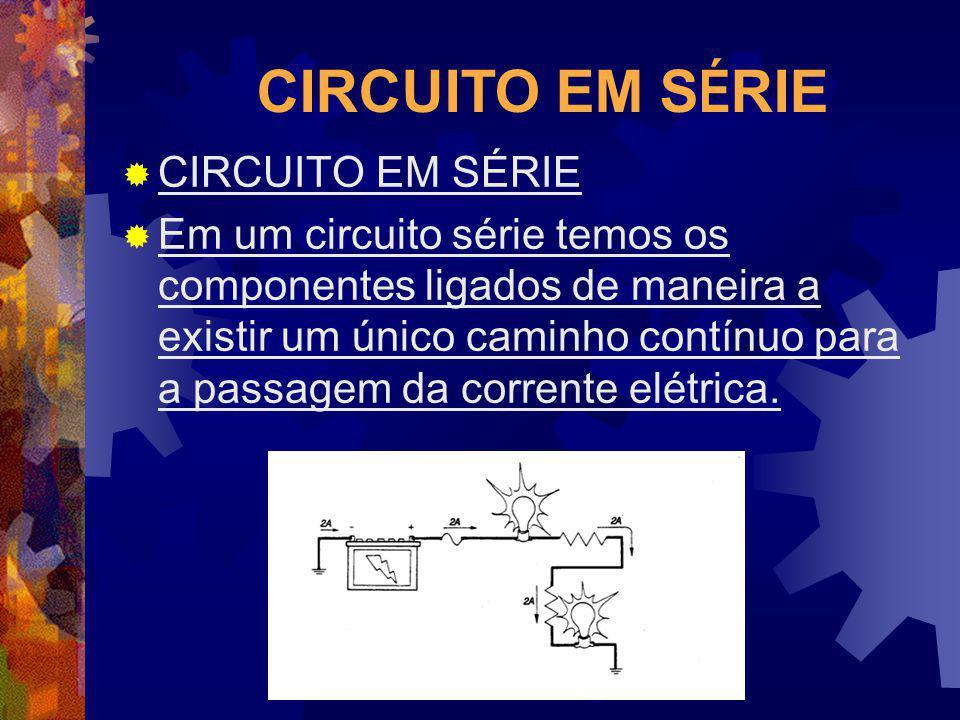 CIRCUITO EM S É RIE Em um circuito série temos os componentes ligados de maneira a existir um único caminho contínuo para a passagem da corrente elétr