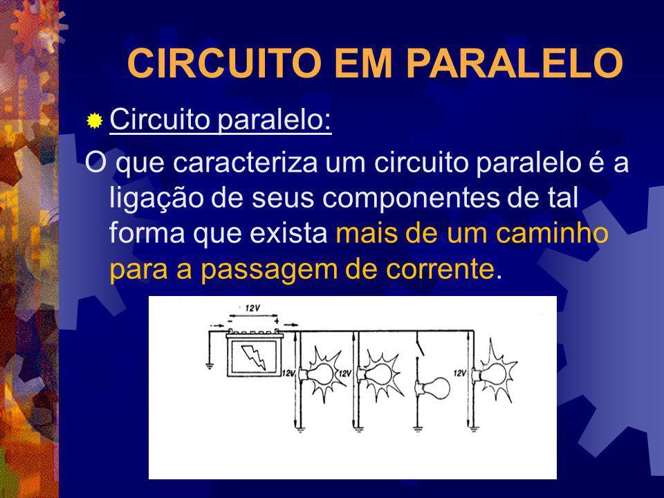CIRCUITO EM PARALELO Circuito paralelo: O que caracteriza um circuito paralelo é a ligação de seus componentes de tal forma que exista mais de um cami