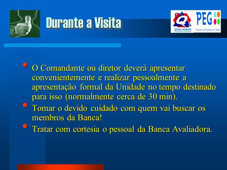 Durante a Visita O Comandante ou diretor deverá apresentar convenientemente e realizar pessoalmente a apresentação formal da Unidade no tempo destinad