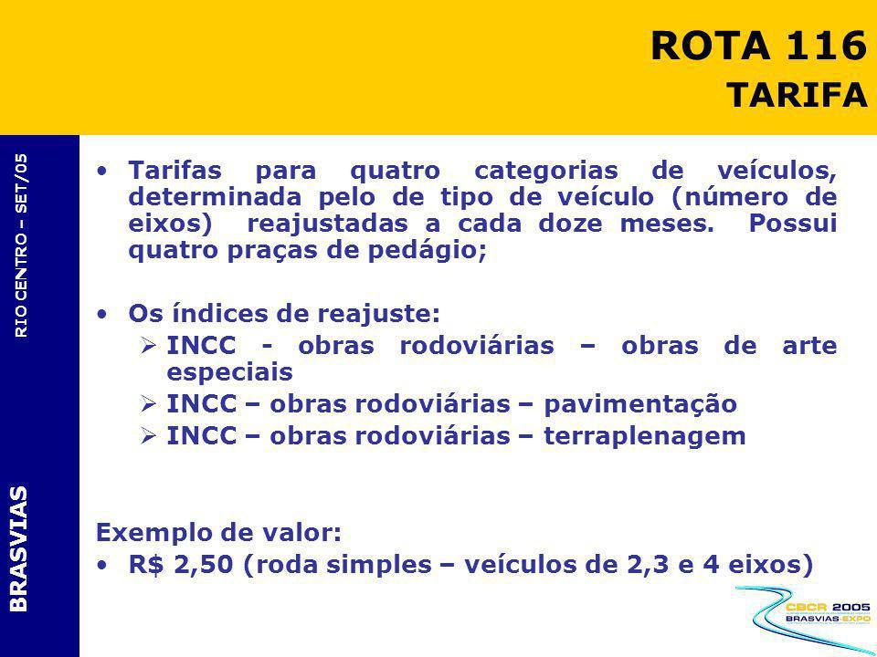 BRASVIAS RIO CENTRO – SET/05 Tarifas para quatro categorias de veículos, determinada pelo de tipo de veículo (número de eixos) reajustadas a cada doze