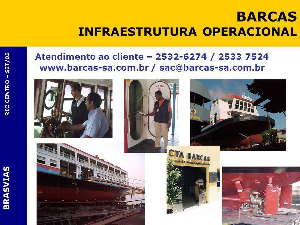 BRASVIAS RIO CENTRO – SET/05 Atendimento ao cliente – 2532-6274 / 2533 7524 www.barcas-sa.com.br / sac@barcas-sa.com.br BARCAS INFRAESTRUTURA OPERACIO