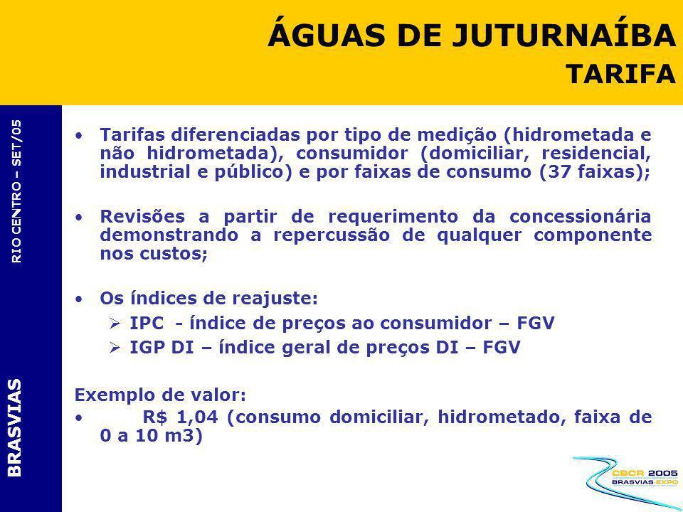 BRASVIAS RIO CENTRO – SET/05 Tarifas diferenciadas por tipo de medição (hidrometada e não hidrometada), consumidor (domiciliar, residencial, industria