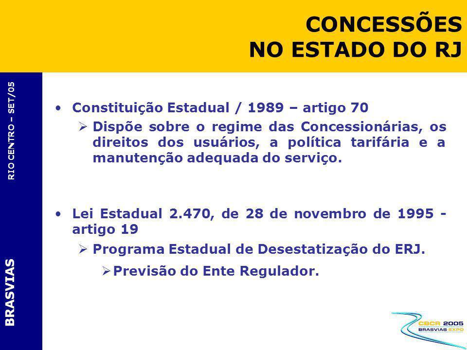 BRASVIAS RIO CENTRO – SET/05 Constituição Estadual / 1989 – artigo 70 Dispõe sobre o regime das Concessionárias, os direitos dos usuários, a política