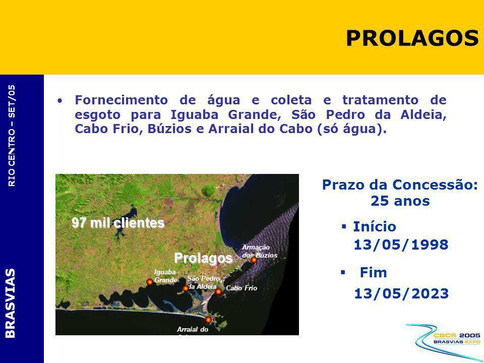BRASVIAS RIO CENTRO – SET/05 Fornecimento de água e coleta e tratamento de esgoto para Iguaba Grande, São Pedro da Aldeia, Cabo Frio, Búzios e Arraial