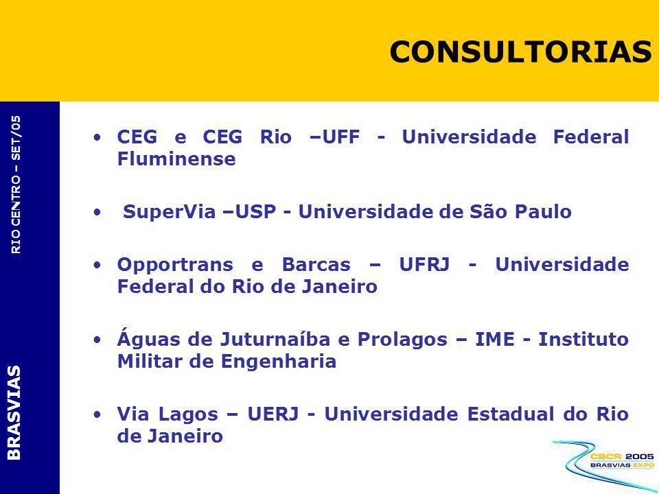 BRASVIAS RIO CENTRO – SET/05 CEG e CEG Rio –UFF - Universidade Federal Fluminense SuperVia –USP - Universidade de São Paulo Opportrans e Barcas – UFRJ
