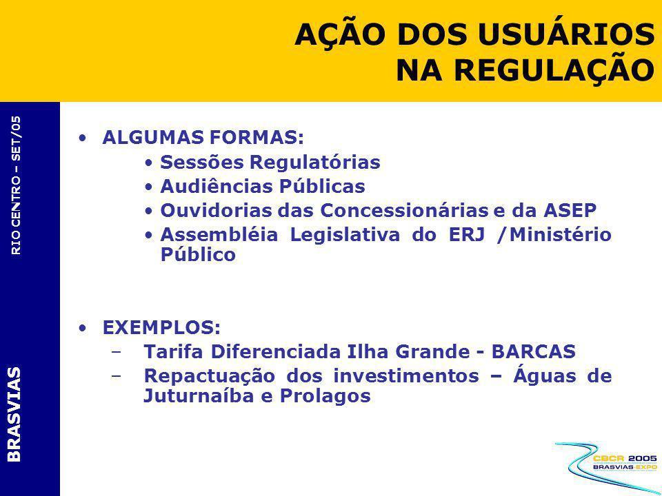 BRASVIAS RIO CENTRO – SET/05 ALGUMAS FORMAS: Sessões Regulatórias Audiências Públicas Ouvidorias das Concessionárias e da ASEP Assembléia Legislativa
