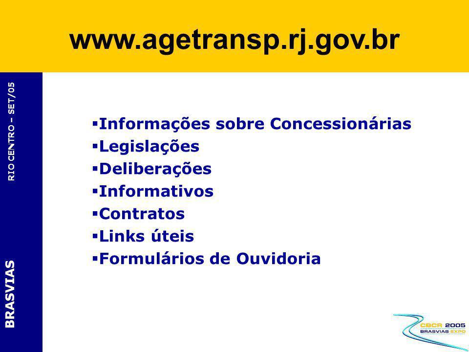 BRASVIAS RIO CENTRO – SET/05 Informações sobre Concessionárias Legislações Deliberações Informativos Contratos Links úteis Formulários de Ouvidoria ww
