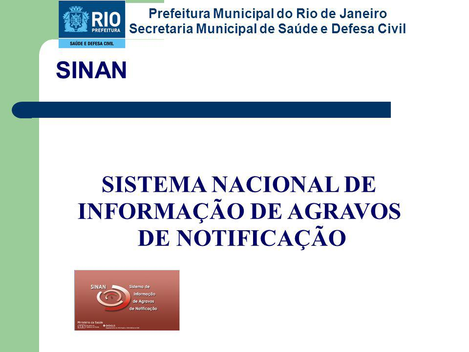 SINAN SISTEMA NACIONAL DE INFORMAÇÃO DE AGRAVOS DE NOTIFICAÇÃO Prefeitura Municipal do Rio de Janeiro Secretaria Municipal de Saúde e Defesa Civil