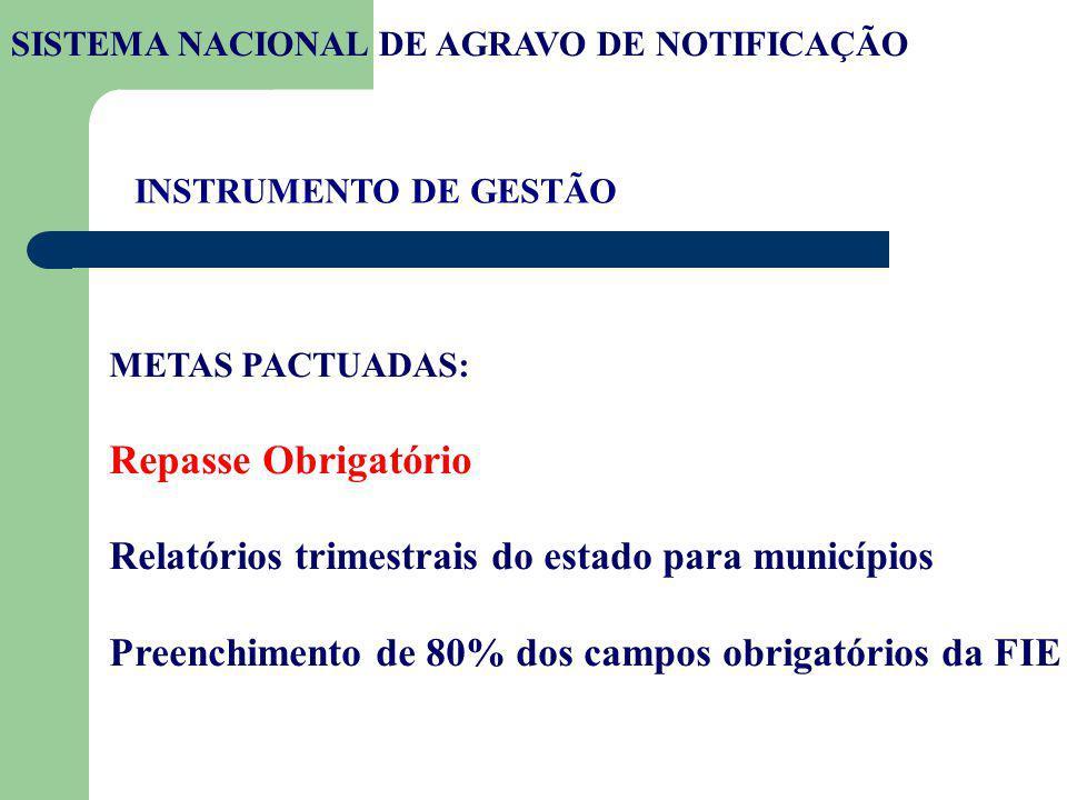 INSTRUMENTO DE GESTÃO METAS PACTUADAS: Repasse Obrigatório Relatórios trimestrais do estado para municípios Preenchimento de 80% dos campos obrigatóri