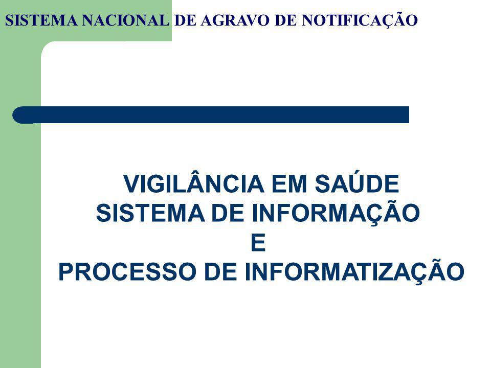 SISTEMA NACIONAL DE AGRAVO DE NOTIFICAÇÃO VIGILÂNCIA EM SAÚDE SISTEMA DE INFORMAÇÃO E PROCESSO DE INFORMATIZAÇÃO
