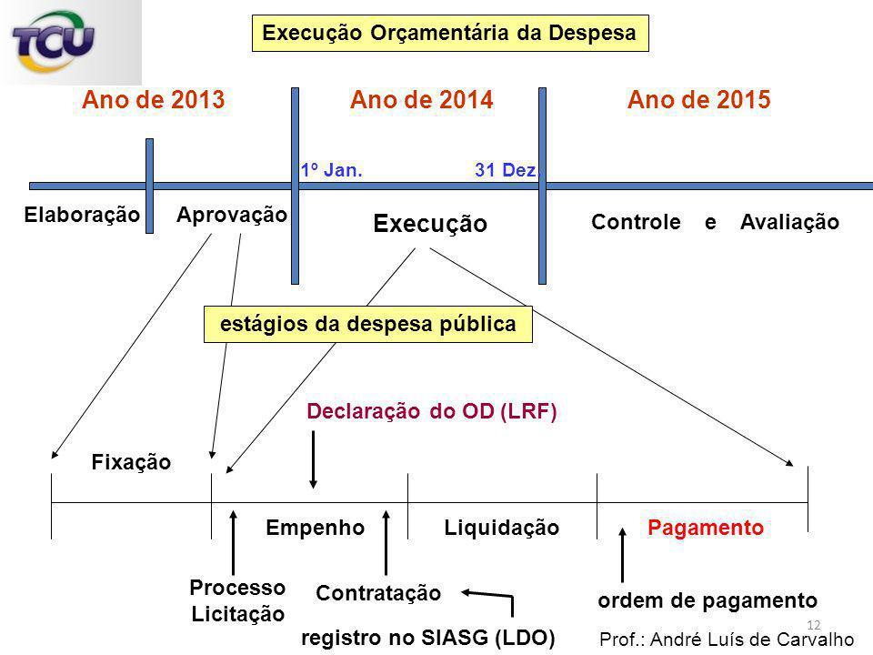 ElaboraçãoAprovação Execução Controle e Avaliação Execução Orçamentária da Despesa 1º Jan.31 Dez. Ano de 2013 Ano de 2015 Ano de 2014 Fixação EmpenhoL