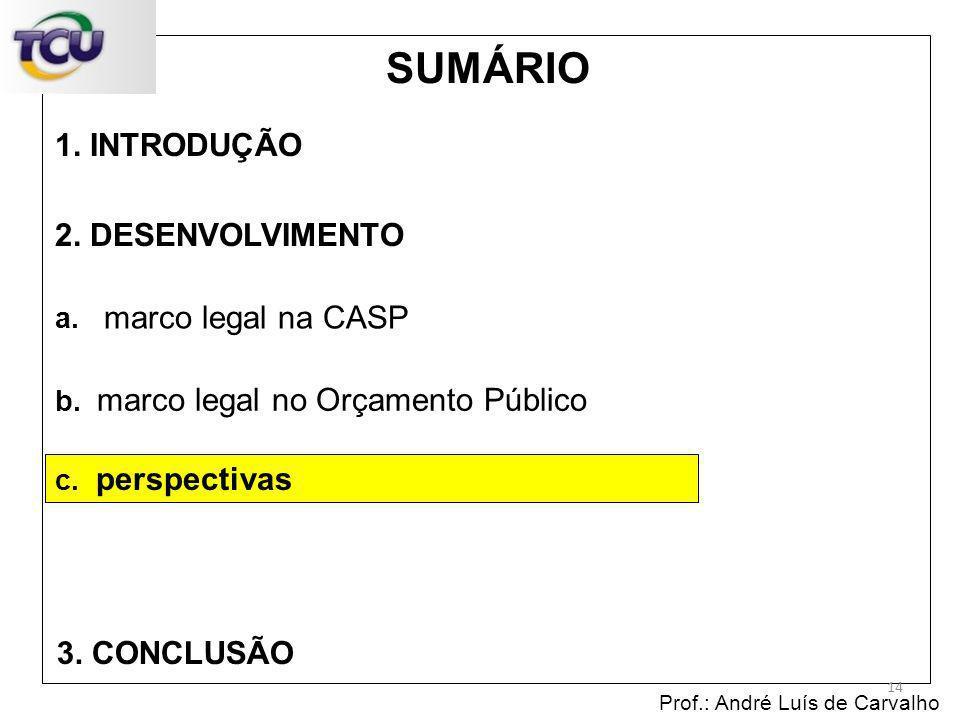 1. INTRODUÇÃO Prof.: André Luís de Carvalho 14 2. DESENVOLVIMENTO 3. CONCLUSÃO SUMÁRIO c. perspectivas b. marco legal no Orçamento Público a. marco le