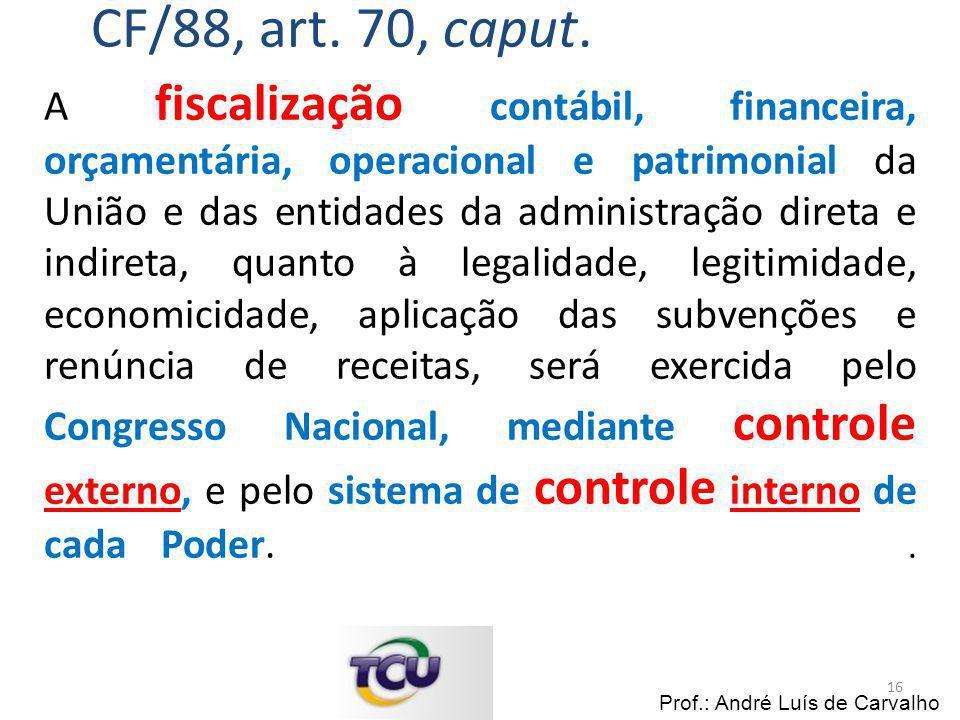 A fiscalização contábil, financeira, orçamentária, operacional e patrimonial da União e das entidades da administração direta e indireta, quanto à leg