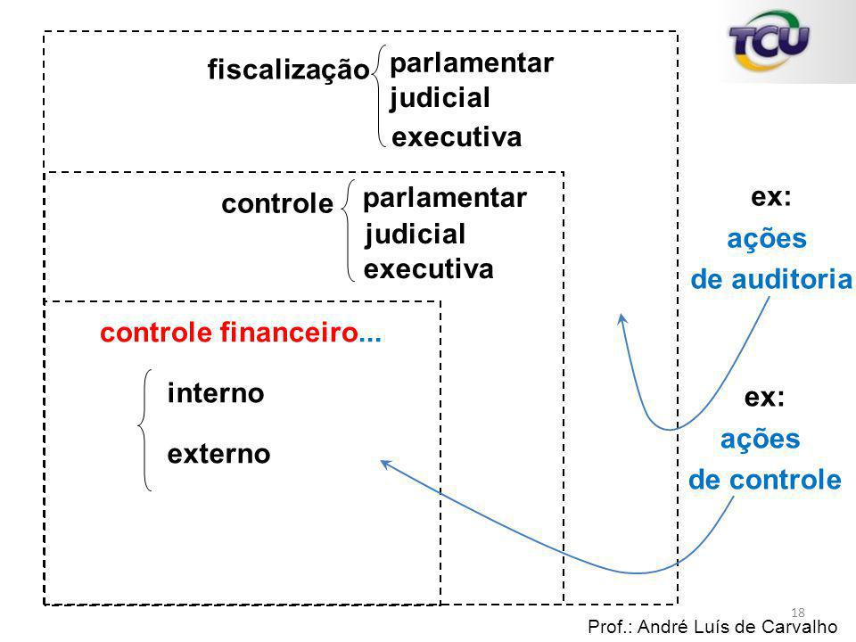 fiscalização Prof.: André Luís de Carvalho 18 controle controle financeiro... parlamentar judicial executiva parlamentar judicial executiva interno ex