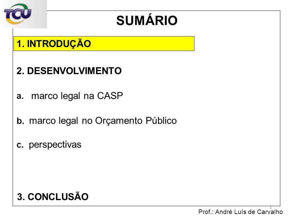 1. INTRODUÇÃO Prof.: André Luís de Carvalho 2 2. DESENVOLVIMENTO 3. CONCLUSÃO SUMÁRIO c. perspectivas b. marco legal no Orçamento Público a. marco leg