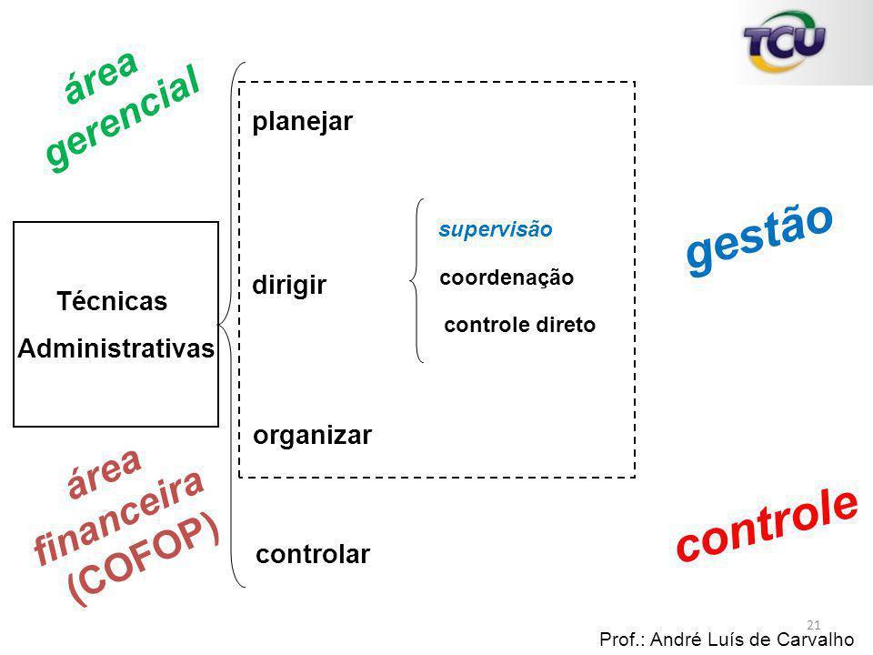 Técnicas Administrativas planejar Prof.: André Luís de Carvalho 21 dirigir supervisão coordenação controle direto organizar controlar gestão controle