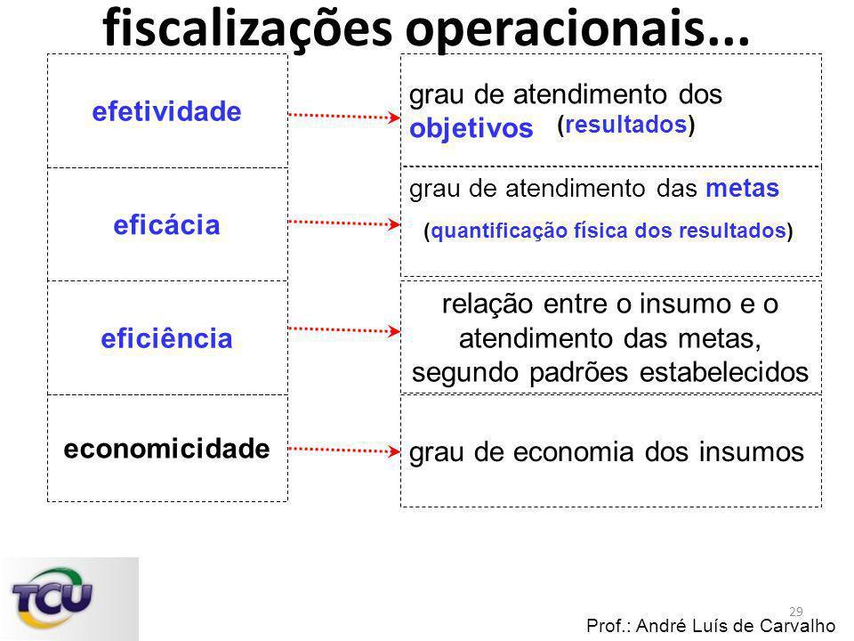Prof.: André Luís de Carvalho efetividade economicidade eficácia eficiência grau de atendimento dos objetivos grau de atendimento das metas relação en