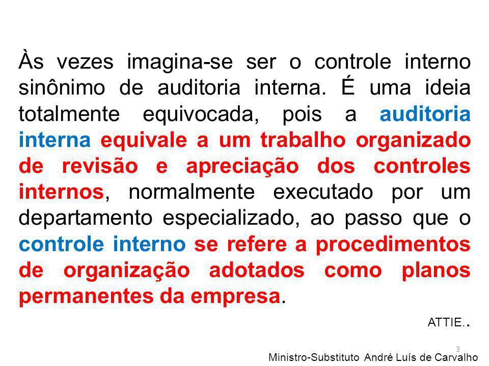 Ministro-Substituto André Luís de Carvalho 3 Às vezes imagina-se ser o controle interno sinônimo de auditoria interna. É uma ideia totalmente equivoca