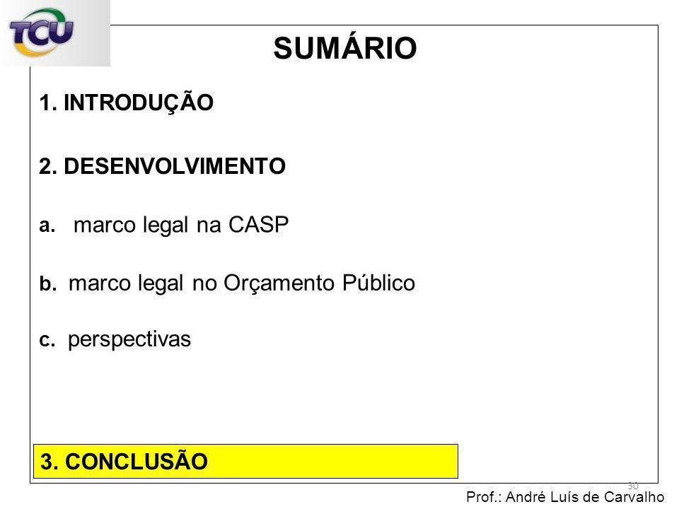 1. INTRODUÇÃO Prof.: André Luís de Carvalho 30 2. DESENVOLVIMENTO 3. CONCLUSÃO SUMÁRIO c. perspectivas b. marco legal no Orçamento Público a. marco le