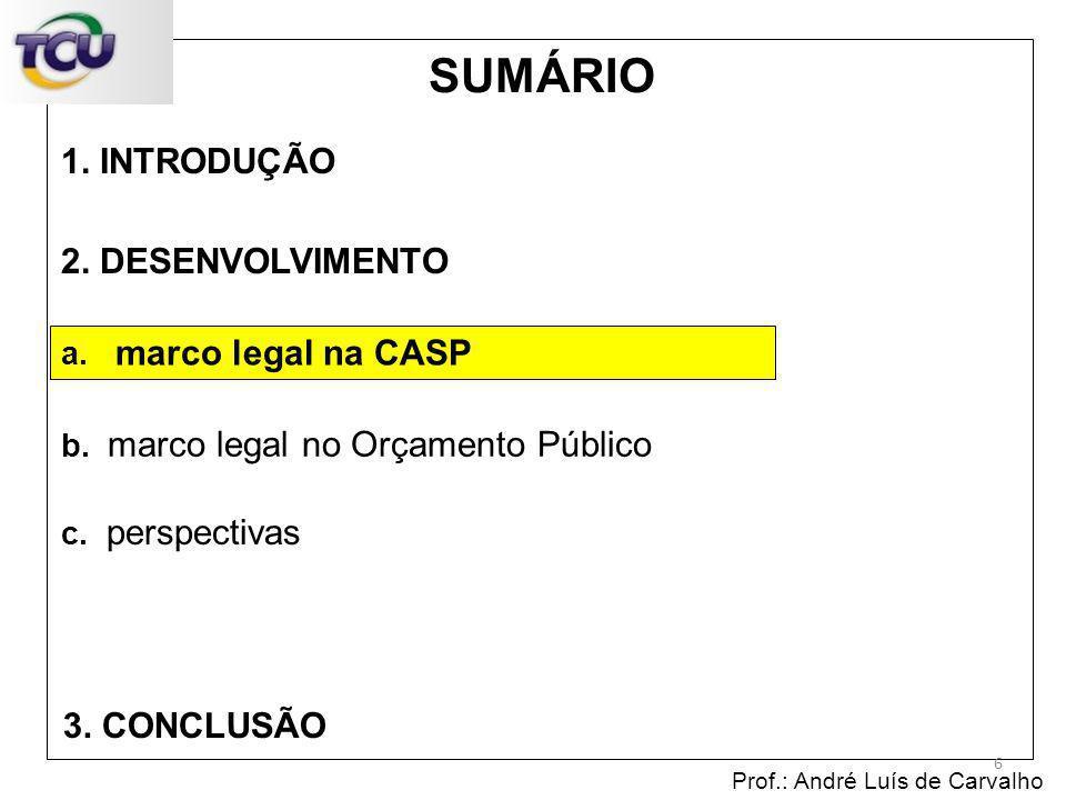 1. INTRODUÇÃO Prof.: André Luís de Carvalho 6 2. DESENVOLVIMENTO 3. CONCLUSÃO SUMÁRIO c. perspectivas b. marco legal no Orçamento Público a. marco leg