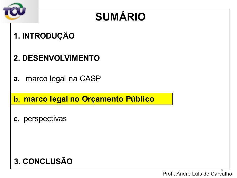 1. INTRODUÇÃO Prof.: André Luís de Carvalho 8 2. DESENVOLVIMENTO 3. CONCLUSÃO SUMÁRIO c. perspectivas b. marco legal no Orçamento Público a. marco leg